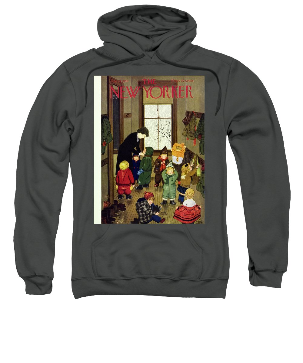 Teacher Sweatshirt featuring the painting New Yorker January 21 1950 by Edna Eicke