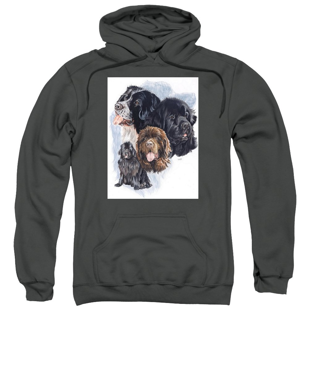 Working Group Sweatshirt featuring the mixed media Newfoundland W/ghost by Barbara Keith