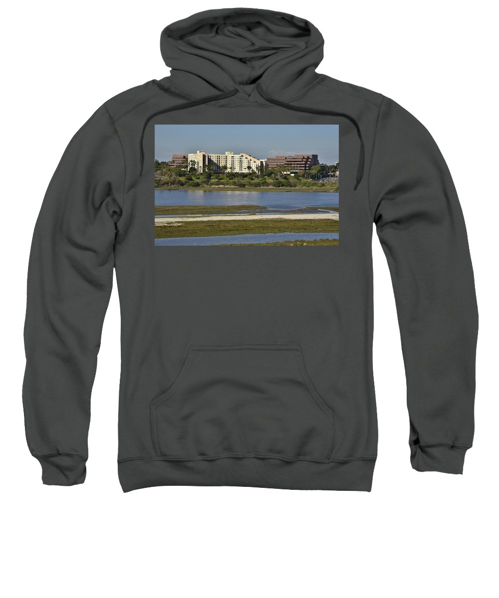 Linda Brody Sweatshirt featuring the photograph Newport Estuary Looking Across At Major Hotel And Businesses by Linda Brody