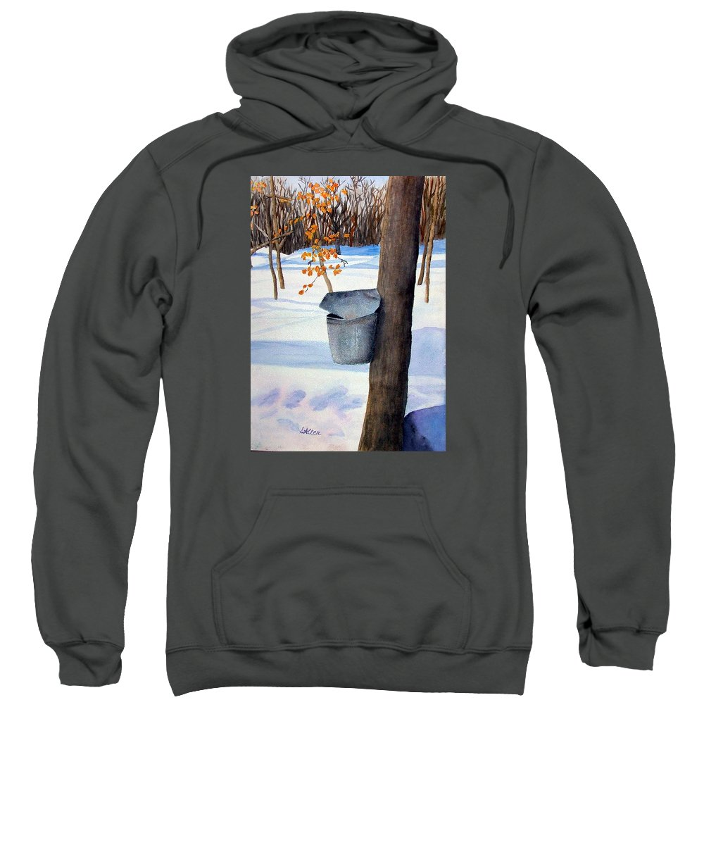 Sap Bucket. Maple Sugaring Sweatshirt featuring the painting NH Goldmine by Sharon E Allen