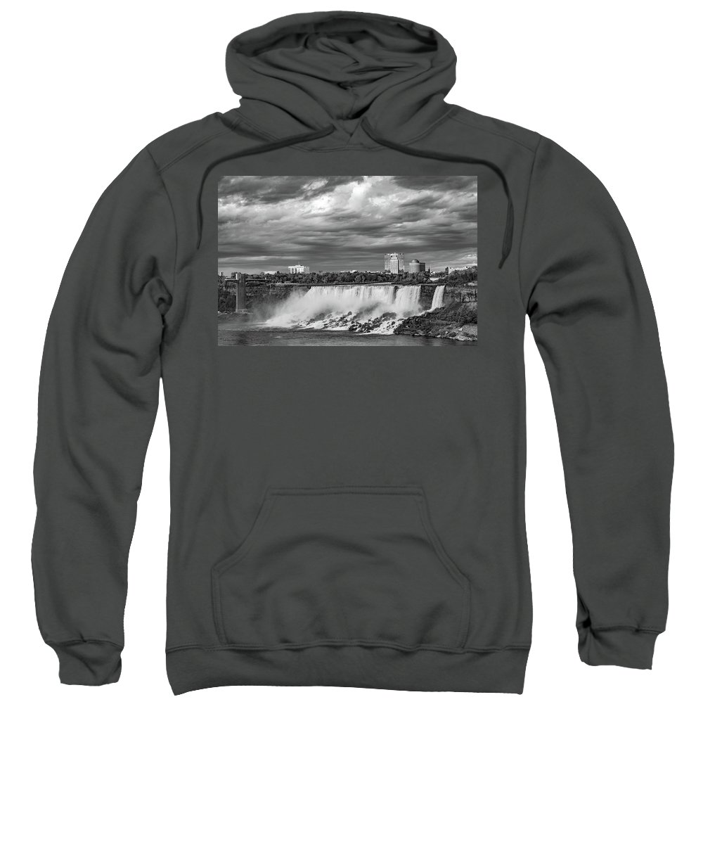 Niagara Falls Sweatshirt featuring the photograph Niagara Falls - The American Side 3 Bw by Steve Harrington