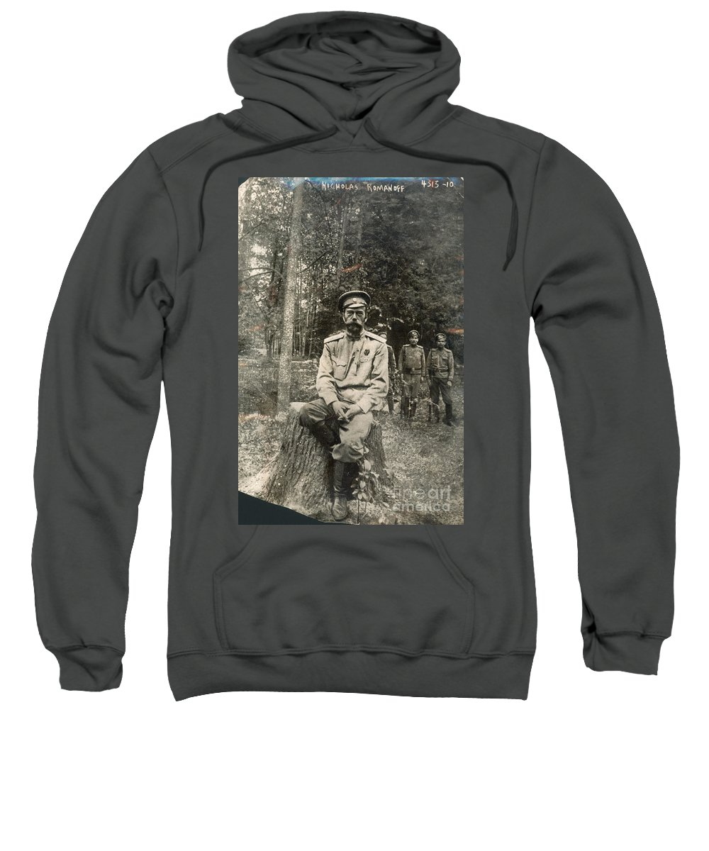 1917 Sweatshirt featuring the photograph Nicholas II (1868-1918) by Granger