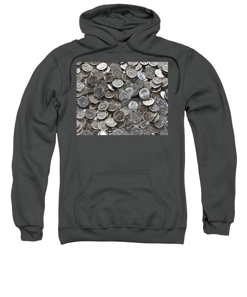 Nickel; Dime; Nickeled; Dimed; Coins; Currency; Silver; Five; Ten; Cents; Change; Cent; Piece; Dolla Sweatshirt featuring the photograph Nickeled And Dimed by Allan Hughes