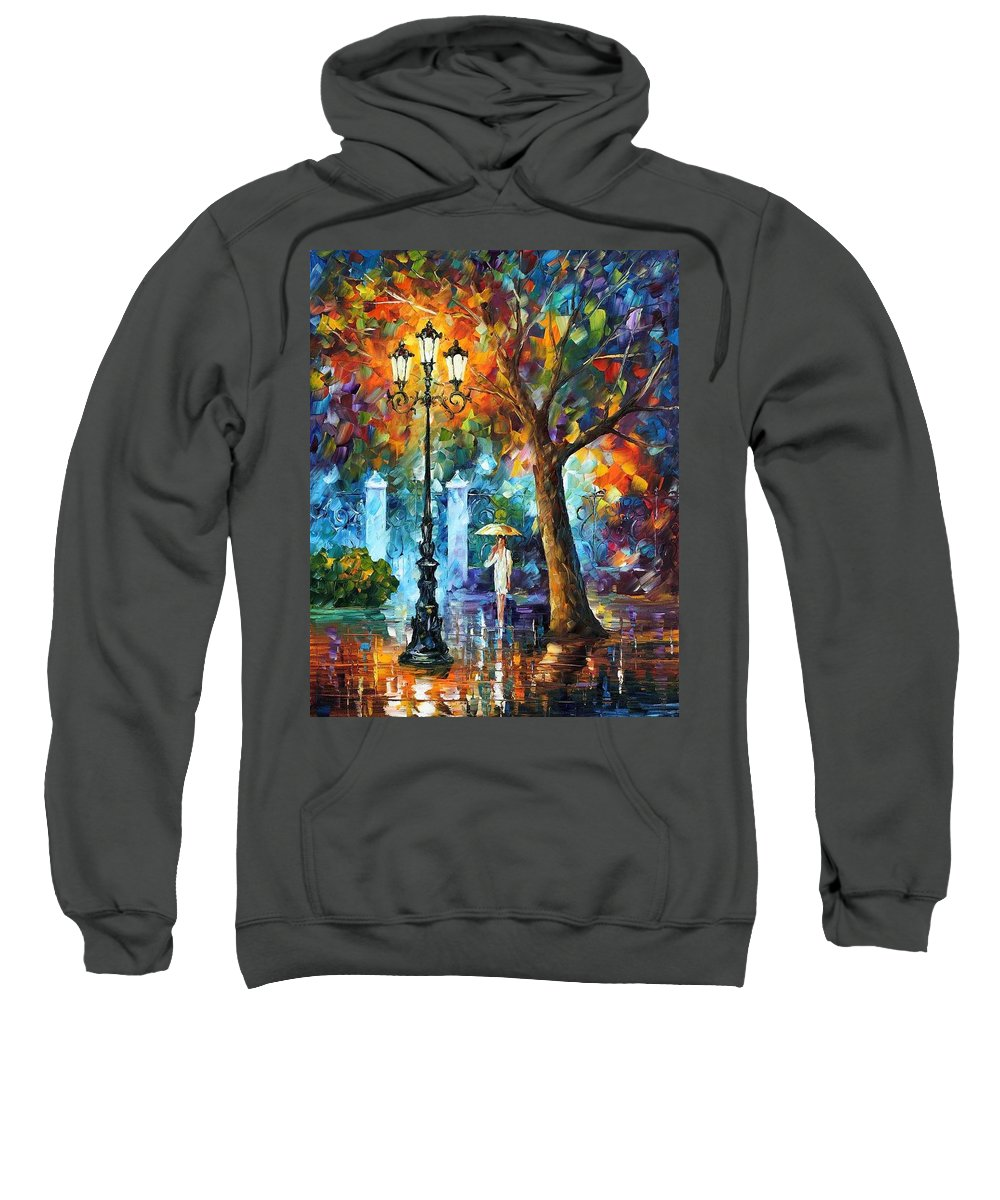 Afremov Sweatshirt featuring the painting Night Aura by Leonid Afremov
