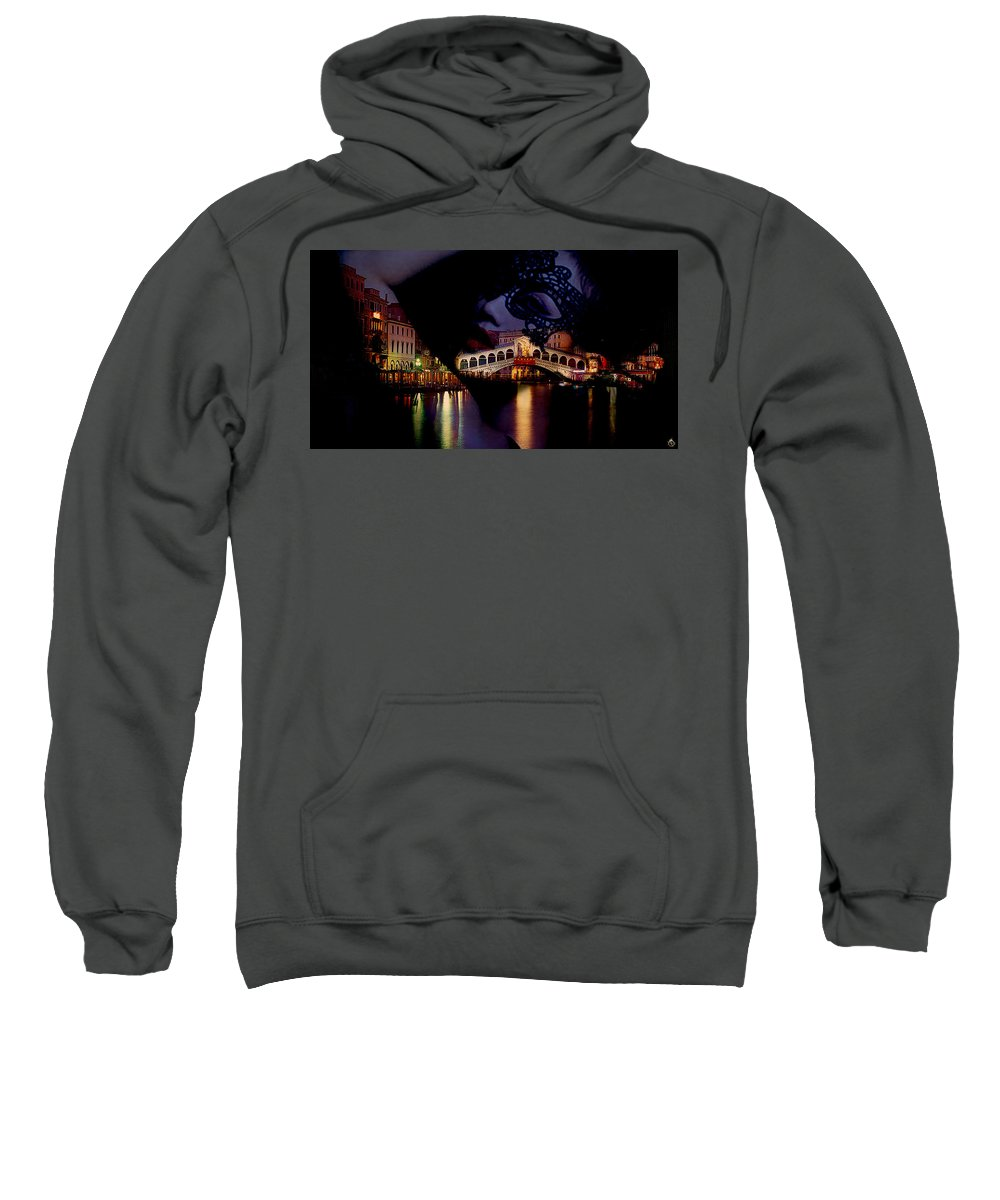 Sweatshirt featuring the digital art Night In Venice by AngeloSenzaVeli