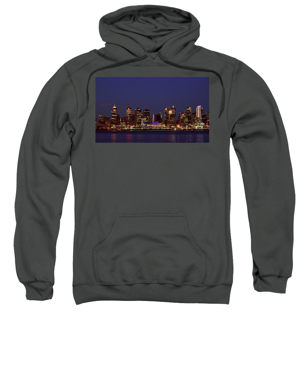 Night Sweatshirt featuring the digital art Night Lights Of Downtown Vancouver by Mark Duffy