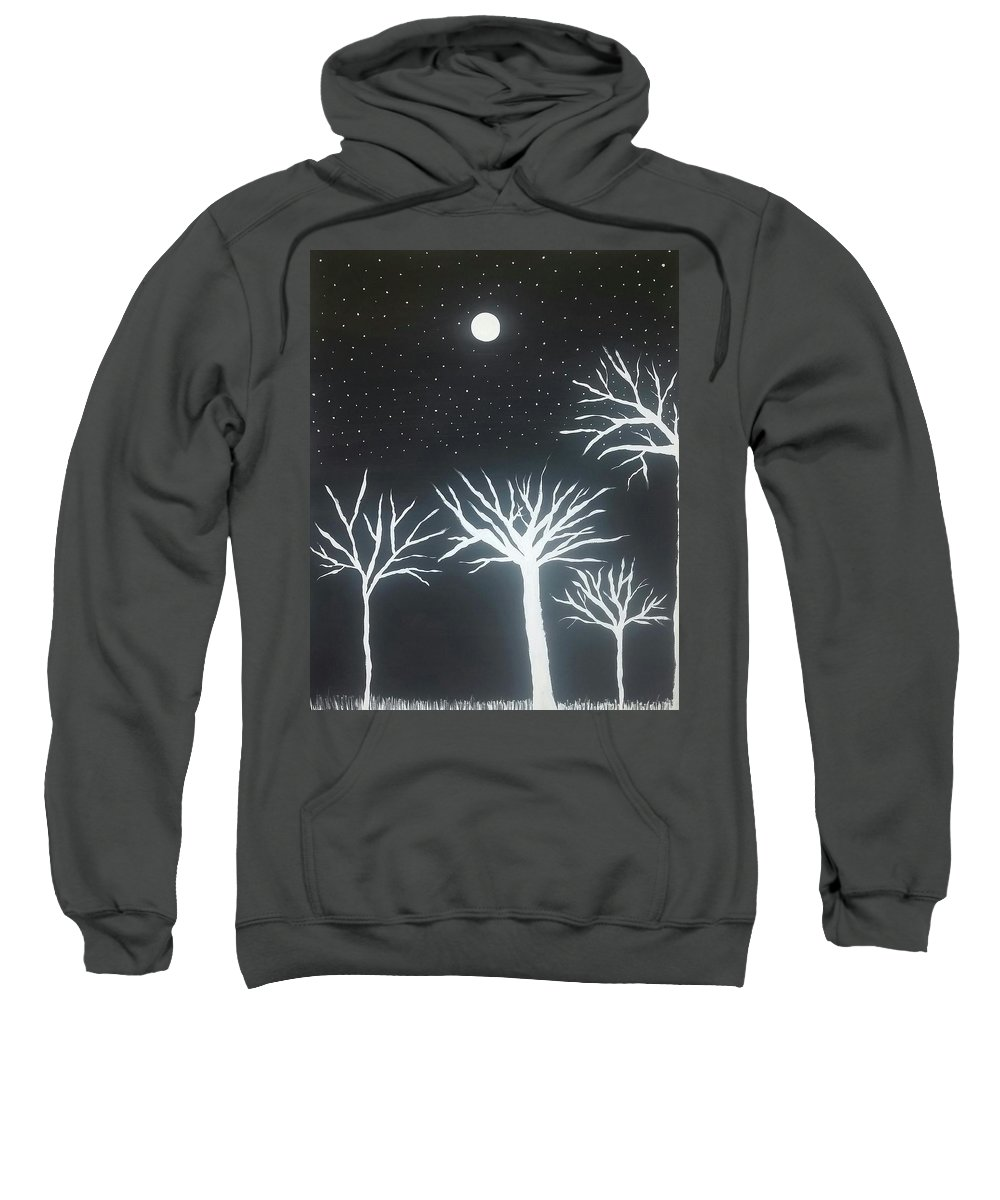 Black Sweatshirt featuring the painting Night Of Lights by Vale Anoa'i