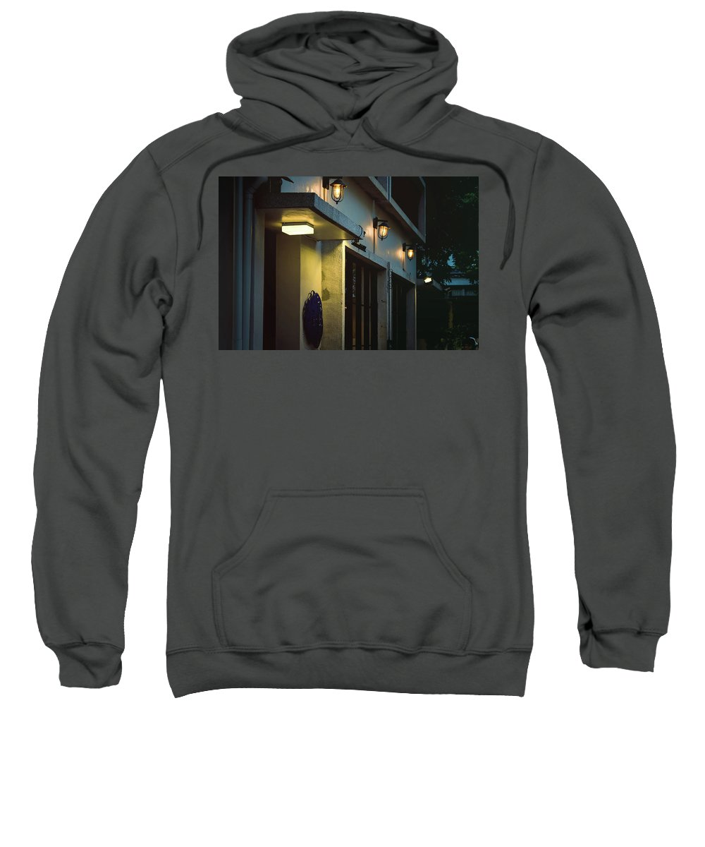 Cafe Sweatshirt featuring the photograph Night Street Cafe by Ming-Jer Wu