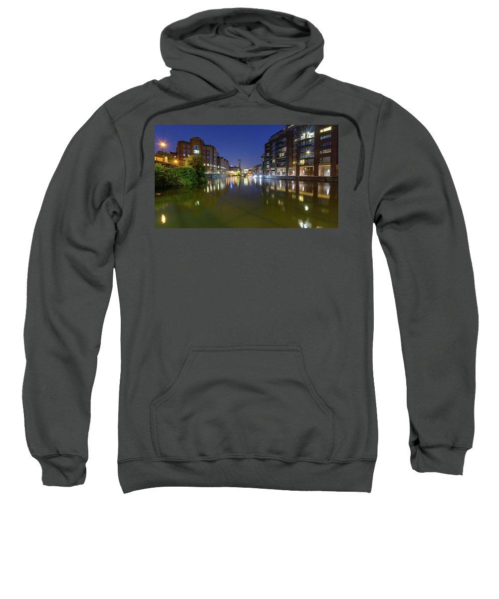 Architecture Sweatshirt featuring the photograph Night View Across River Avon To Temple Bridge Bristol England by Jacek Wojnarowski
