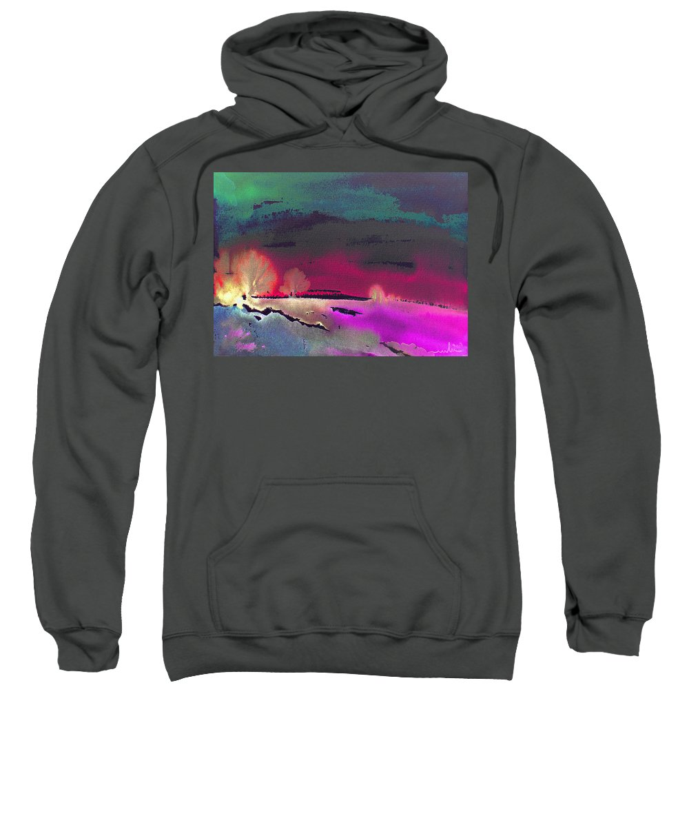 Watercolour Sweatshirt featuring the painting Nightfall 08 by Miki De Goodaboom