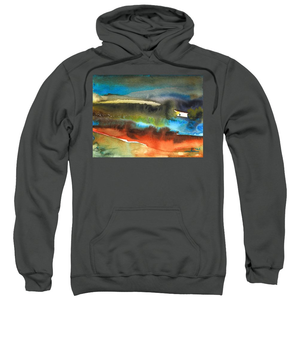 Watercolour Landscape Sweatshirt featuring the painting Nightfall 13 by Miki De Goodaboom