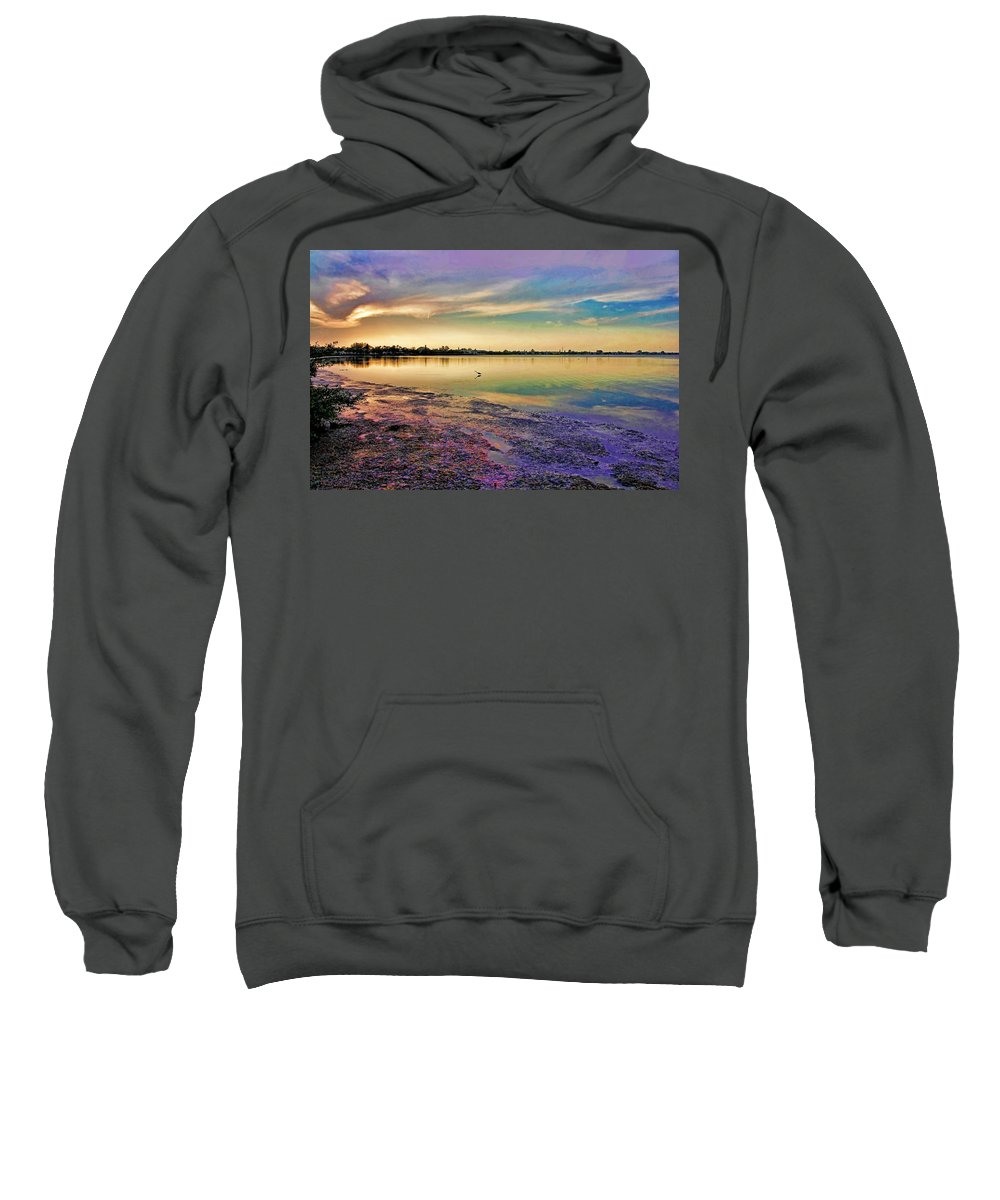 Peaceful Sunset Sweatshirt featuring the photograph Nightfall On The Bay by HH Photography of Florida