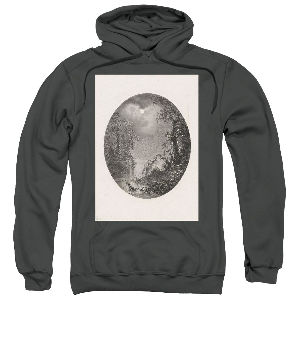 Nature Sweatshirt featuring the painting Nightscapes, Dirk Jurriaan Sluyter, After Johannes Hilverdink In Or Before 1870 by Johannes Hilverdink