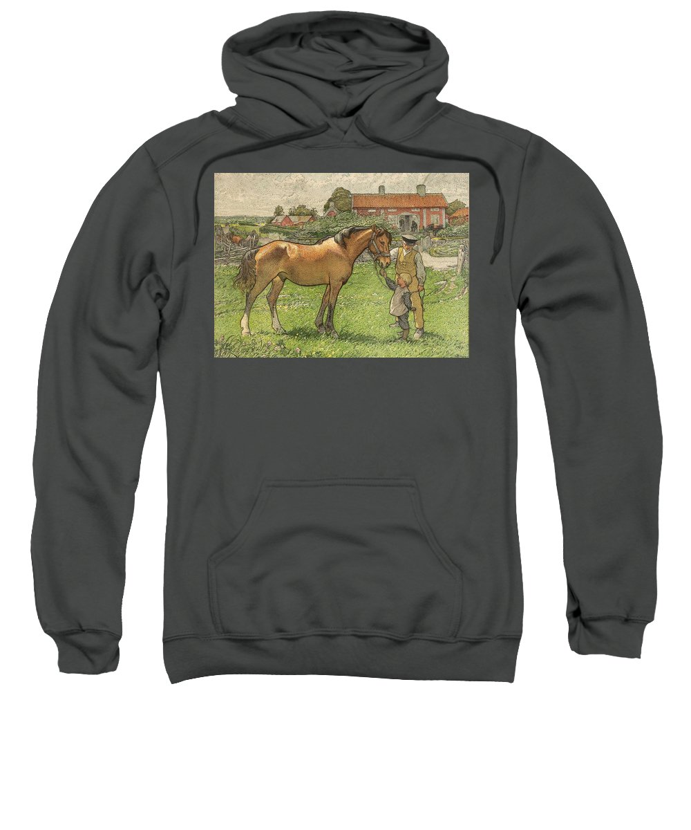 Nature Sweatshirt featuring the painting Nils Kreuger, 1858-1930, Brunte Picked Up On Sunday Morning by Nils Kreuger