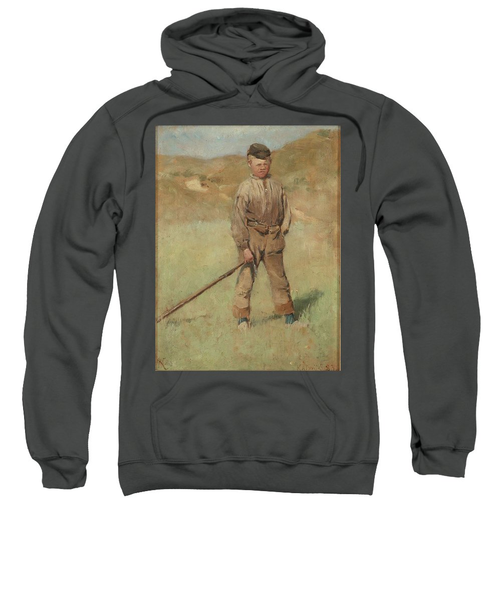 Man Sweatshirt featuring the painting Nils Kreuger, 1858-1930, Young Boy, Scene From Holland. Executed In July-august 1883 by Nils Kreuger