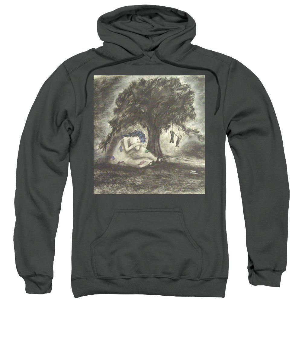 Original Art Sweatshirt featuring the drawing No Death Do We Part by Cynthia Campbell
