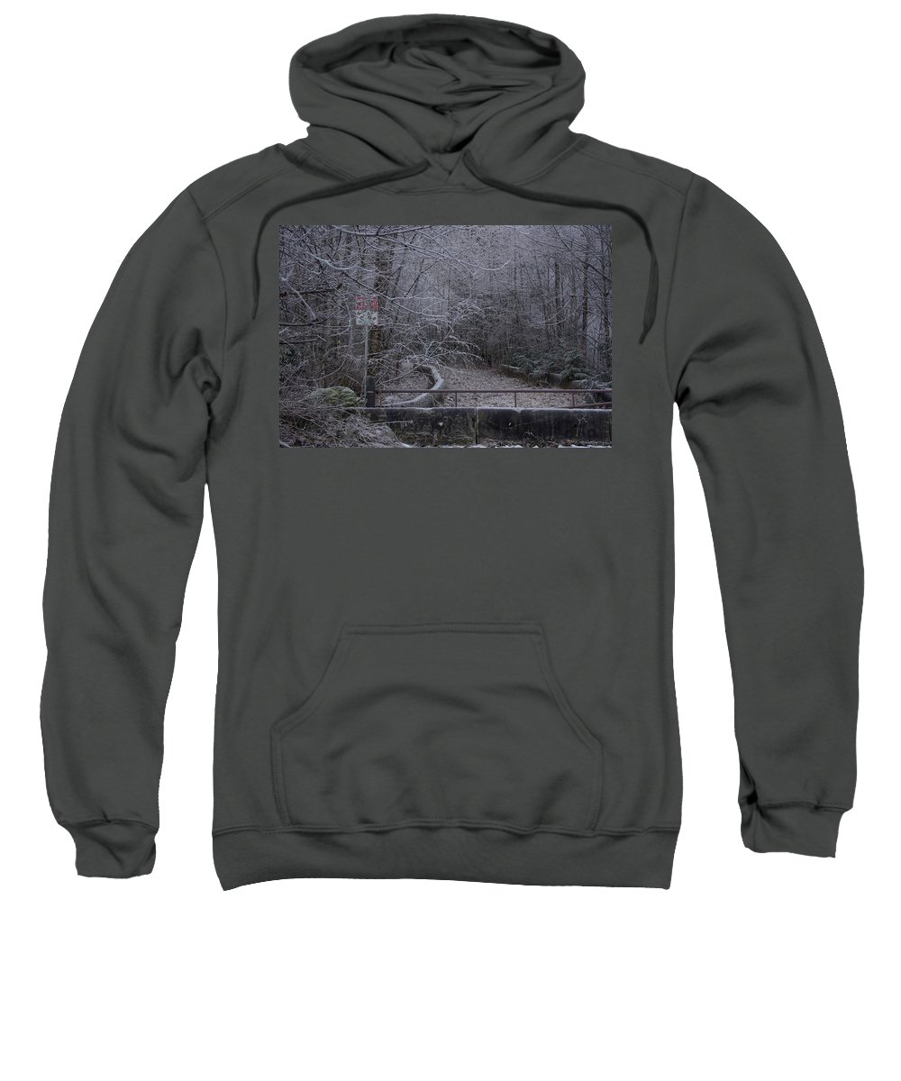 No Sweatshirt featuring the photograph No Entry by Cindy Johnston