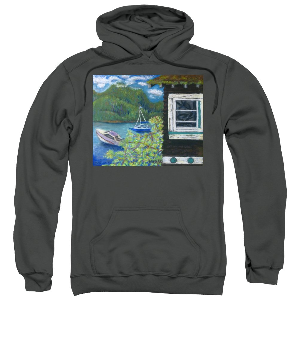 Boats Sweatshirt featuring the painting Noble Cottage At The Lake by Minaz Jantz