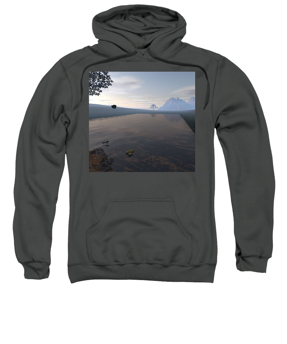 Landscape Sweatshirt featuring the digital art Nobody's Land by Nelson Sousa