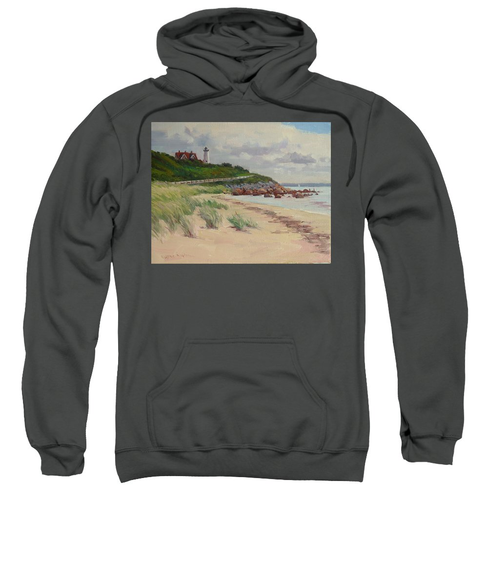 Woods Hole Sweatshirt featuring the painting Nobska Lighthouse by Dianne Panarelli Miller