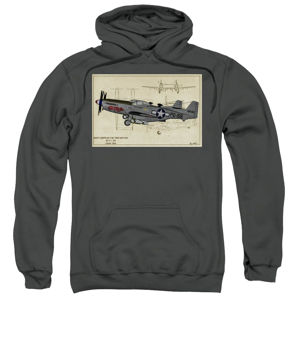 Fighter Sweatshirt featuring the digital art North American F-82b Twin Mustang - Profile Art by Tommy Anderson
