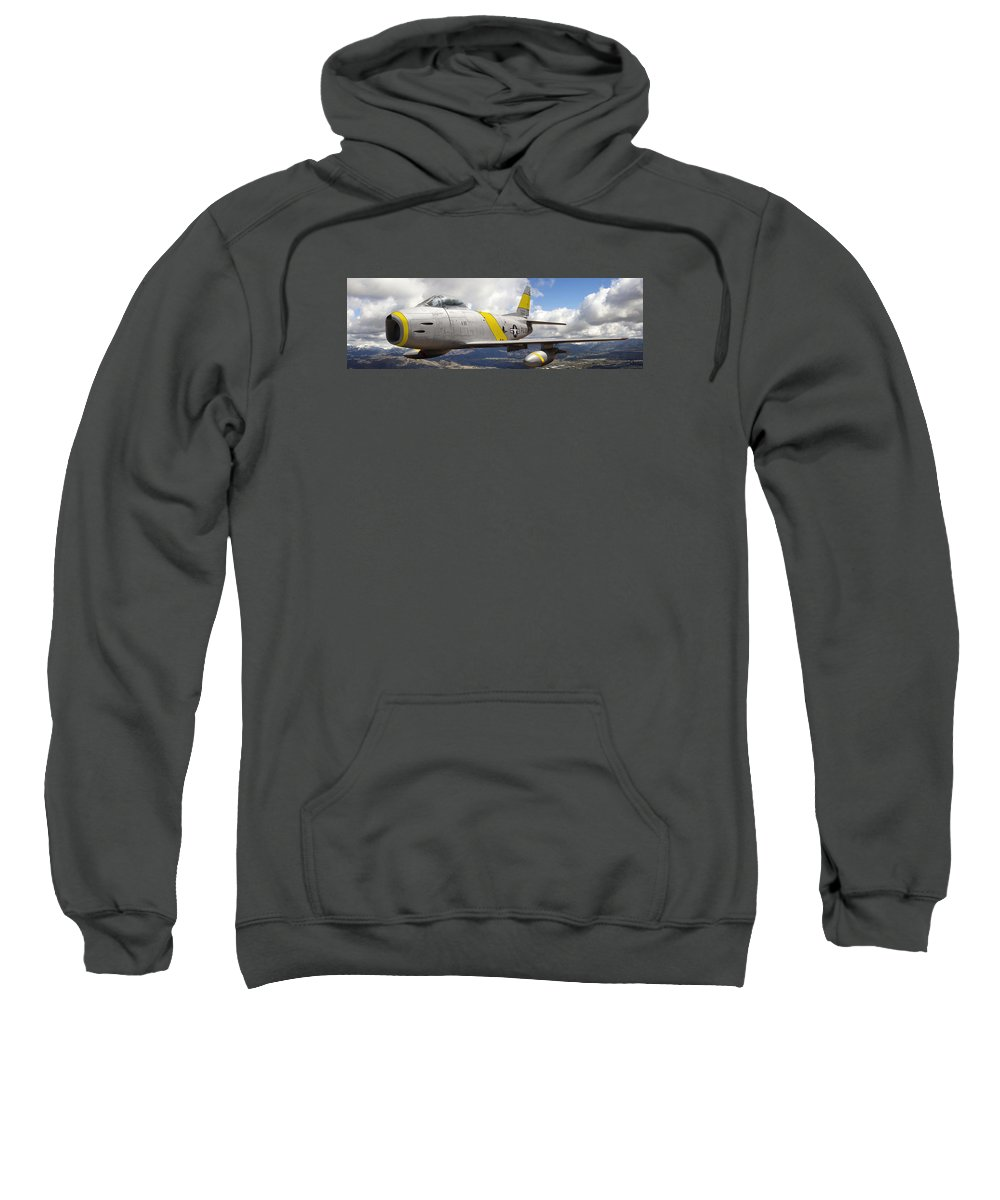 F-86 Sabre Sweatshirt featuring the photograph North American F-86 Sabre by Larry McManus