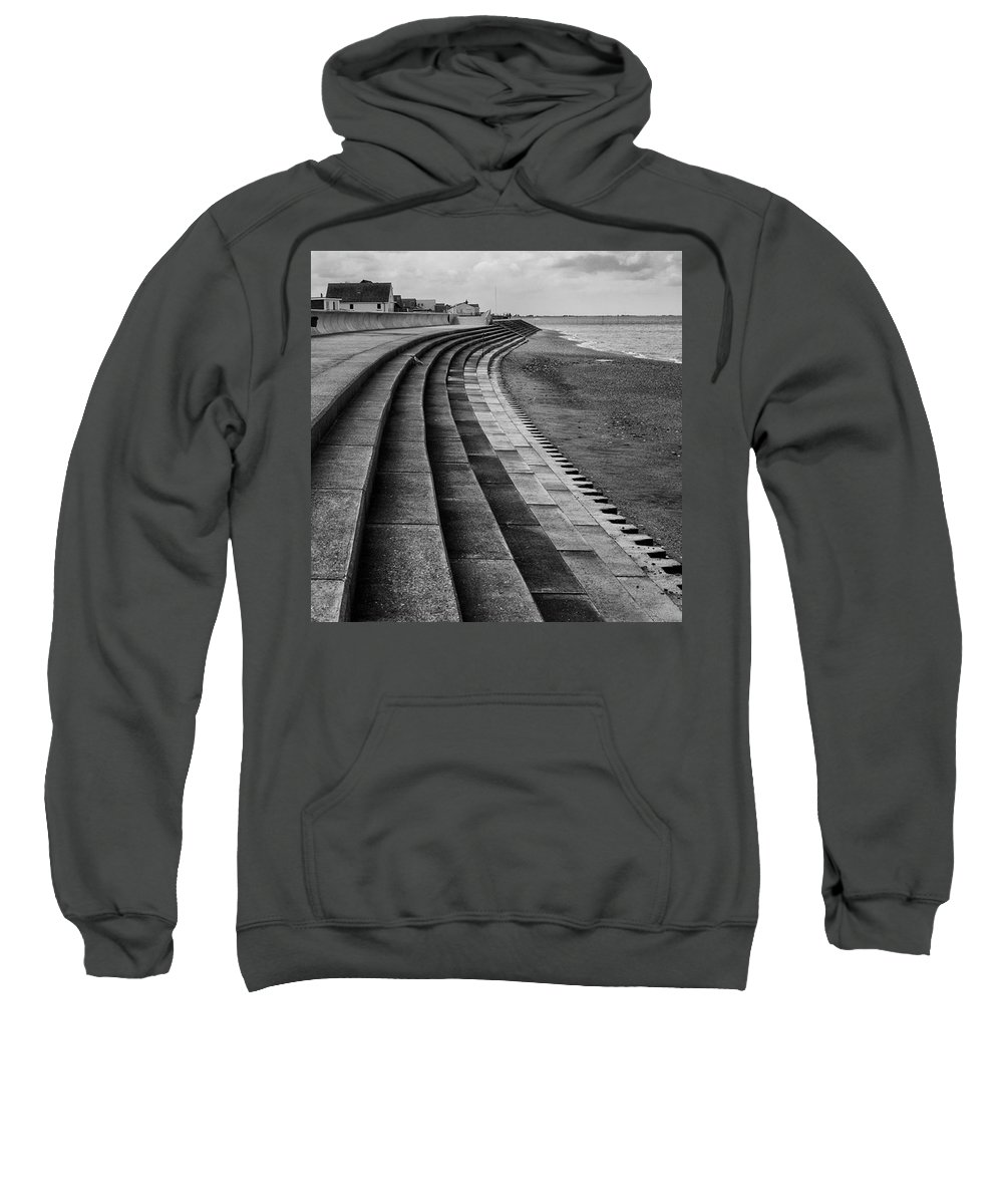 Monochromephotography Sweatshirt featuring the photograph North Beach, Heacham, Norfolk, England by John Edwards