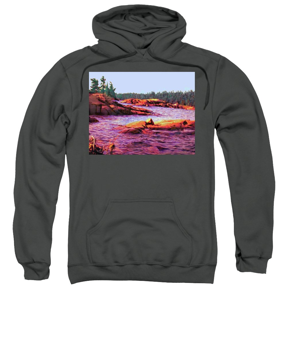Wilderness Sweatshirt featuring the digital art North Channel Islands by Ian MacDonald