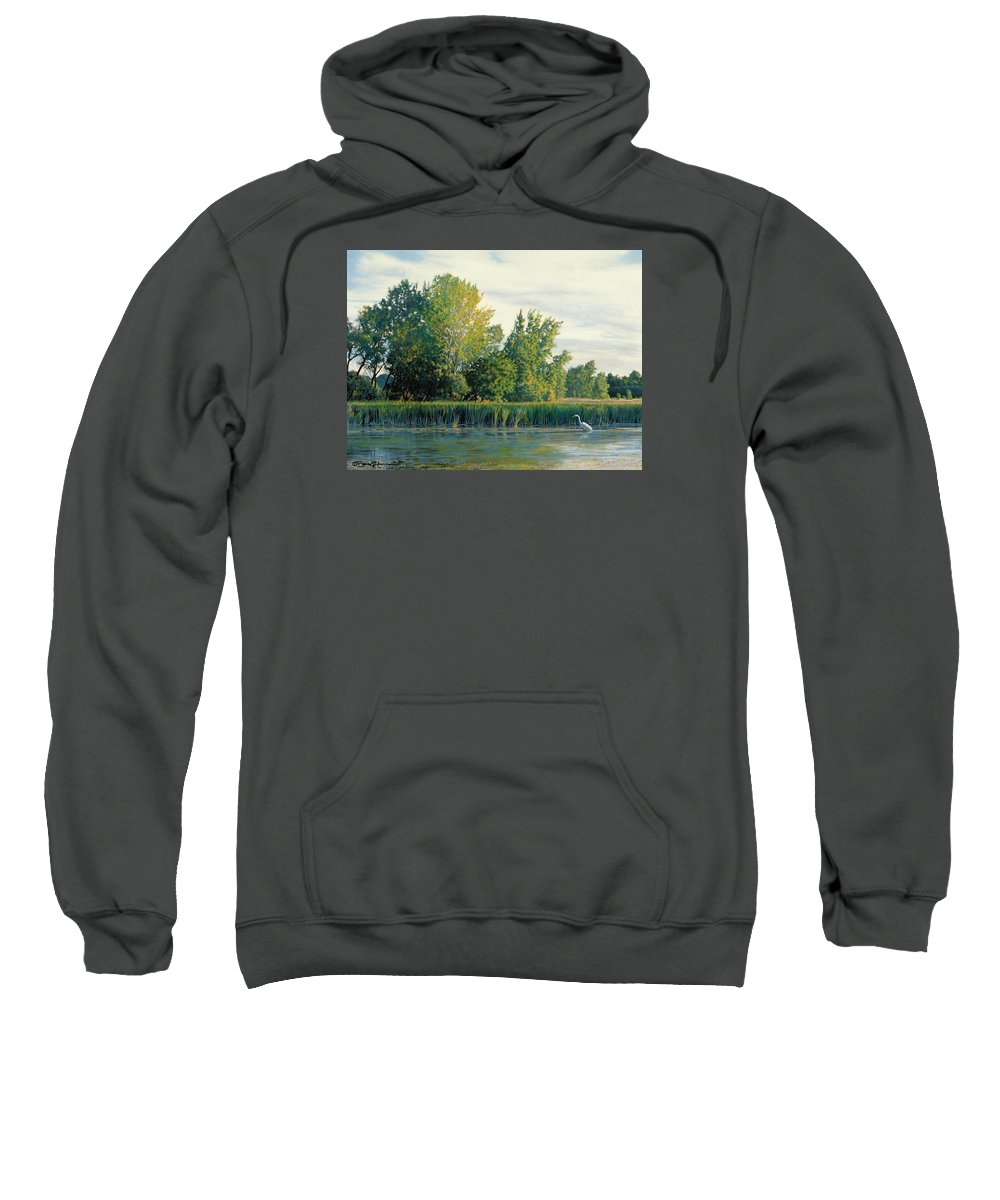 Great Egret Sweatshirt featuring the drawing North Of The Grade-great Egret by Bruce Morrison