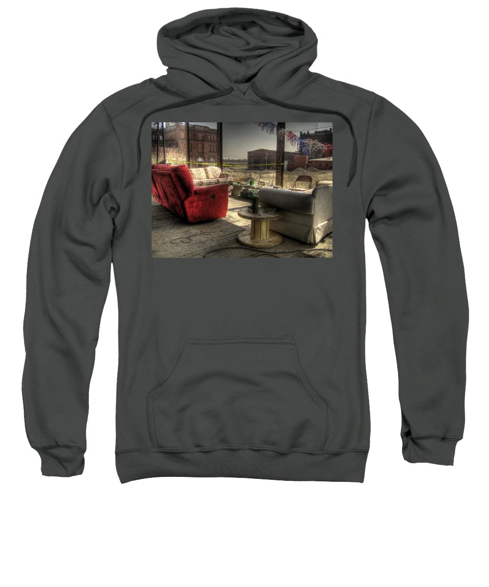 Hdr Sweatshirt featuring the photograph North St. Louis Porch by Jane Linders