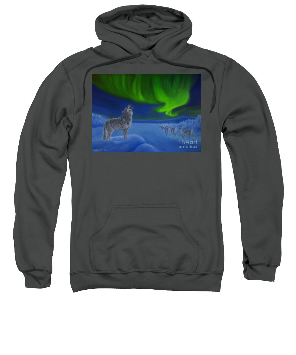 Art Sweatshirt featuring the painting Northern Lights Night by Veikko Suikkanen