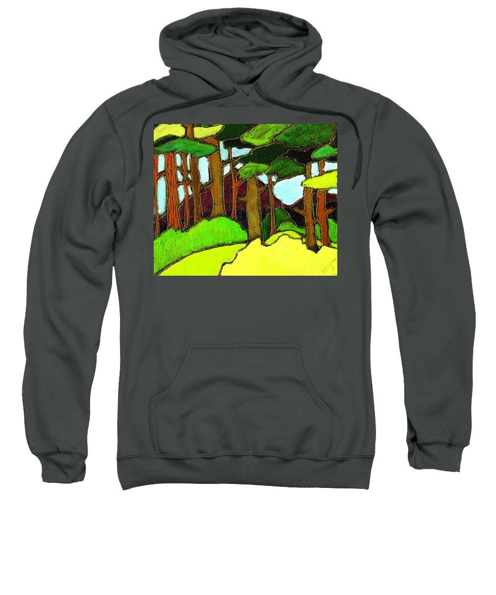 Trees Sweatshirt featuring the painting Northern Pathway by Wayne Potrafka