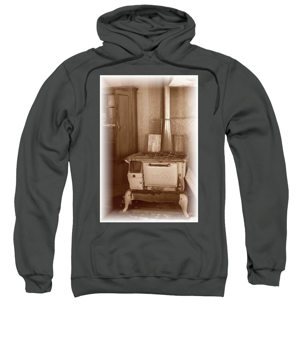 Stove Sweatshirt featuring the photograph Not Much Cookin - Unionville Nv by Nelson Strong