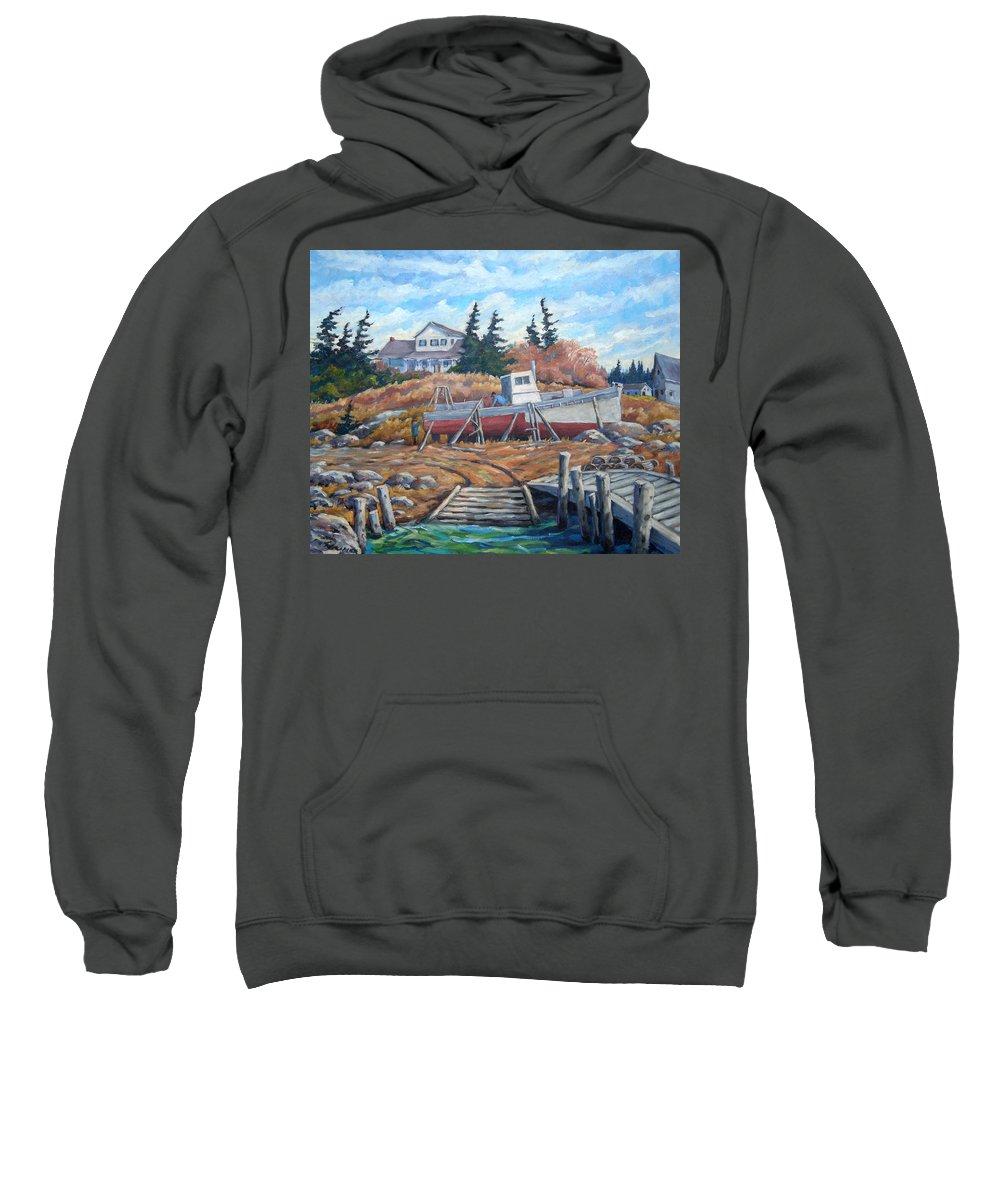 Boat Sweatshirt featuring the painting Novia Scotia by Richard T Pranke