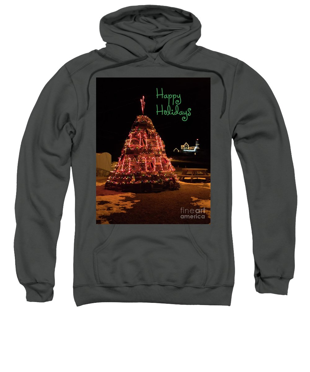 Nubble Light Sweatshirt featuring the photograph Nubble Light - Happy Holidays by Patrick Fennell