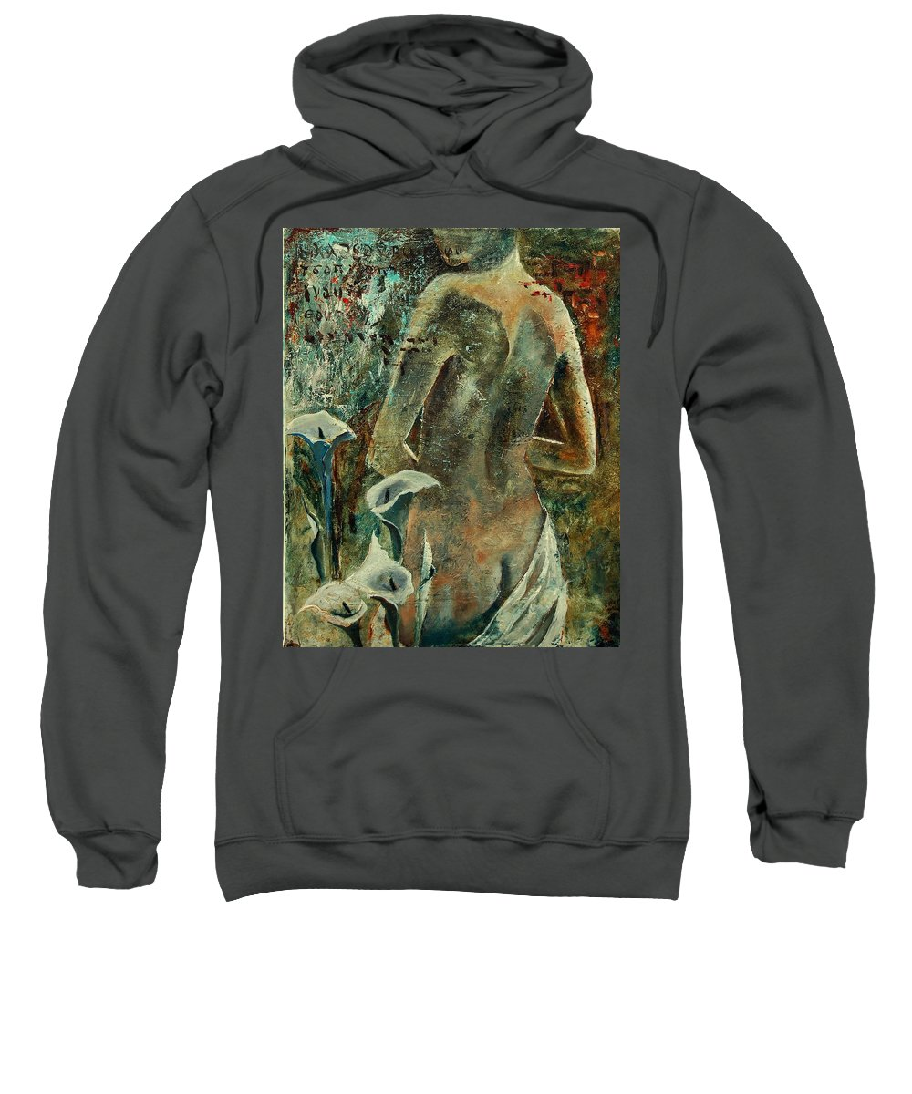 Girl Sweatshirt featuring the painting Nude And Arums by Pol Ledent