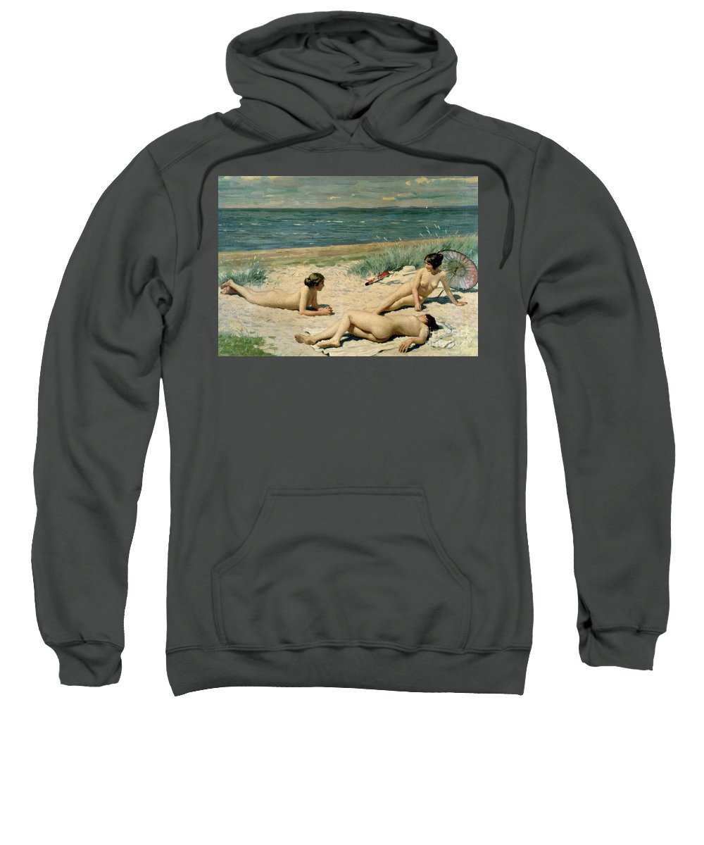 Nude Sweatshirt featuring the painting Nude Bathers On The Beach by Paul Fischer
