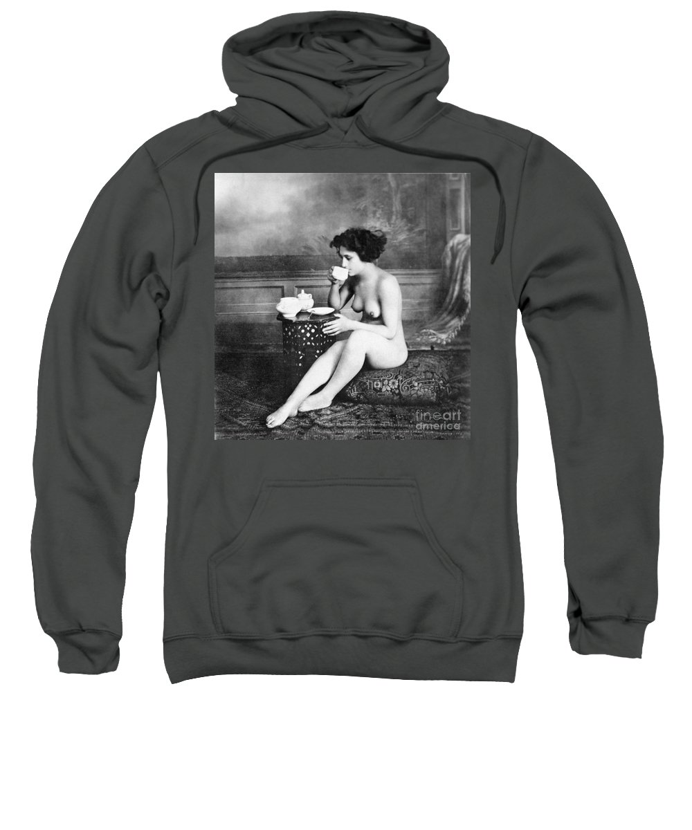 19th Century Sweatshirt featuring the painting Nude Drinking Tea, 19th Ct by Granger