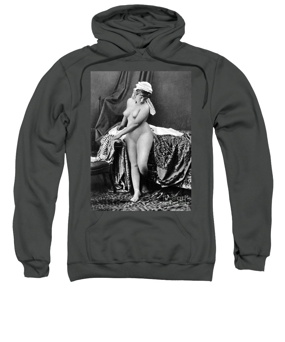 1885 Sweatshirt featuring the photograph Nude In Bonnet, C1885 by Granger