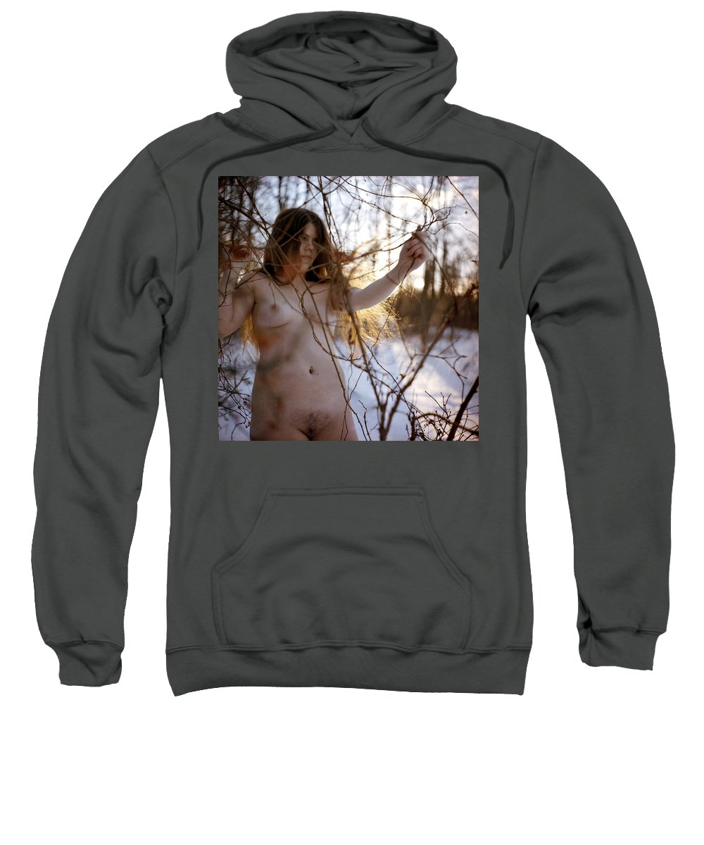Nude Sweatshirt featuring the photograph Nude In The Snow by Joshua Macneil