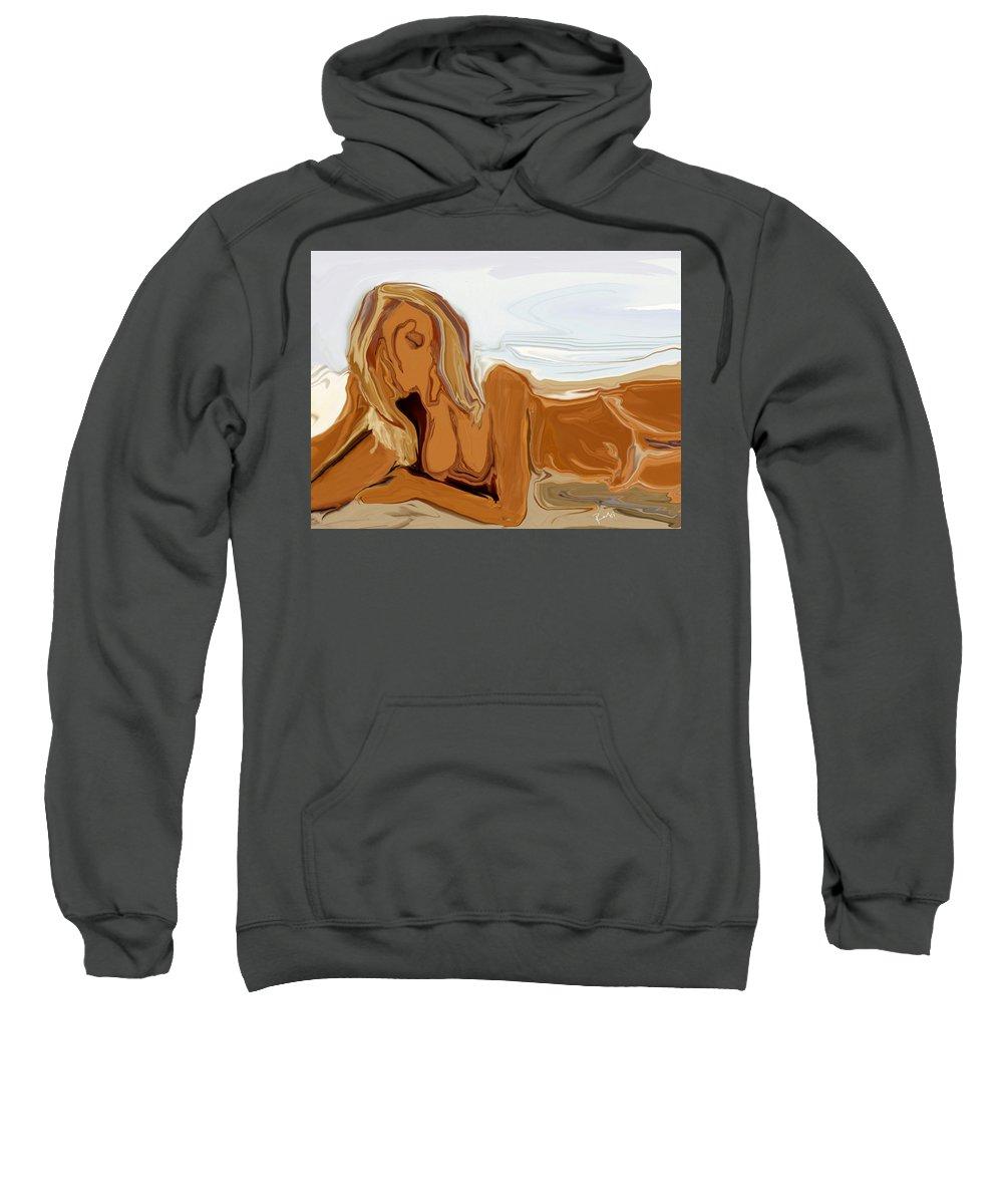 Abstract Sweatshirt featuring the digital art Nude On The Beach by Rabi Khan