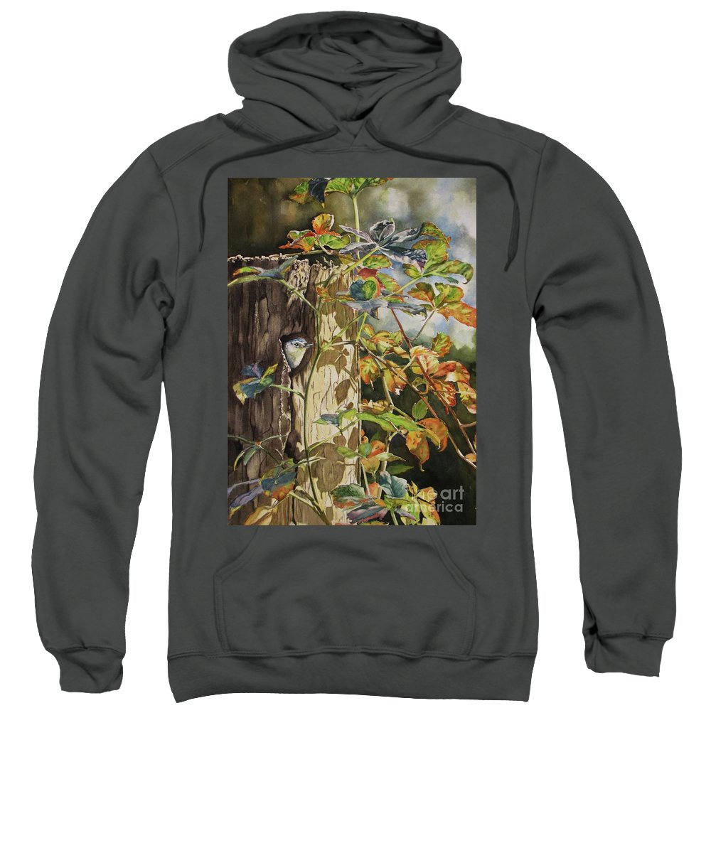 Nuthatch Sweatshirt featuring the painting Nuthatch And Creeper by Greg and Linda Halom