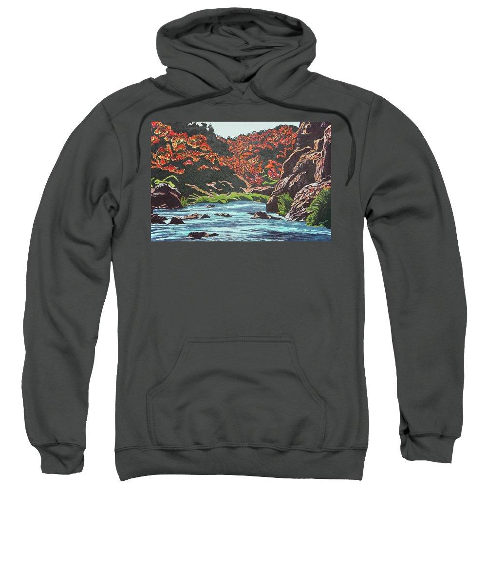 Valentine Magutsa Sweatshirt featuring the painting Nyangombe River by Valentine Magutsa