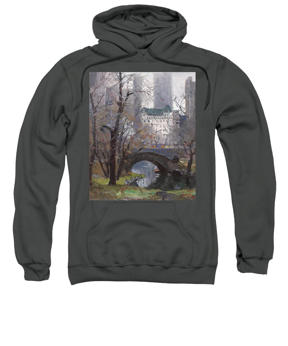 New York City Sweatshirt featuring the painting Nyc Central Park by Ylli Haruni