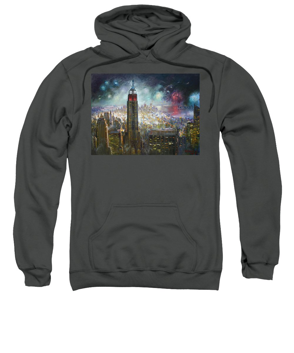 Landscape Sweatshirt featuring the painting Nyc. Empire State Building by Ylli Haruni