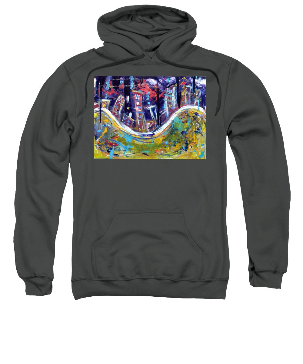 New York City Manhattan Hudson River Sweatshirt featuring the painting Nyc Impressions 4 by Jason Gluskin
