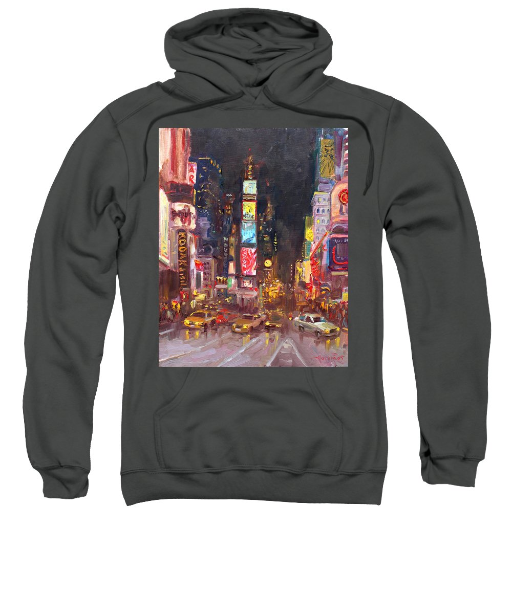 New York City Sweatshirt featuring the painting Nyc Times Square by Ylli Haruni