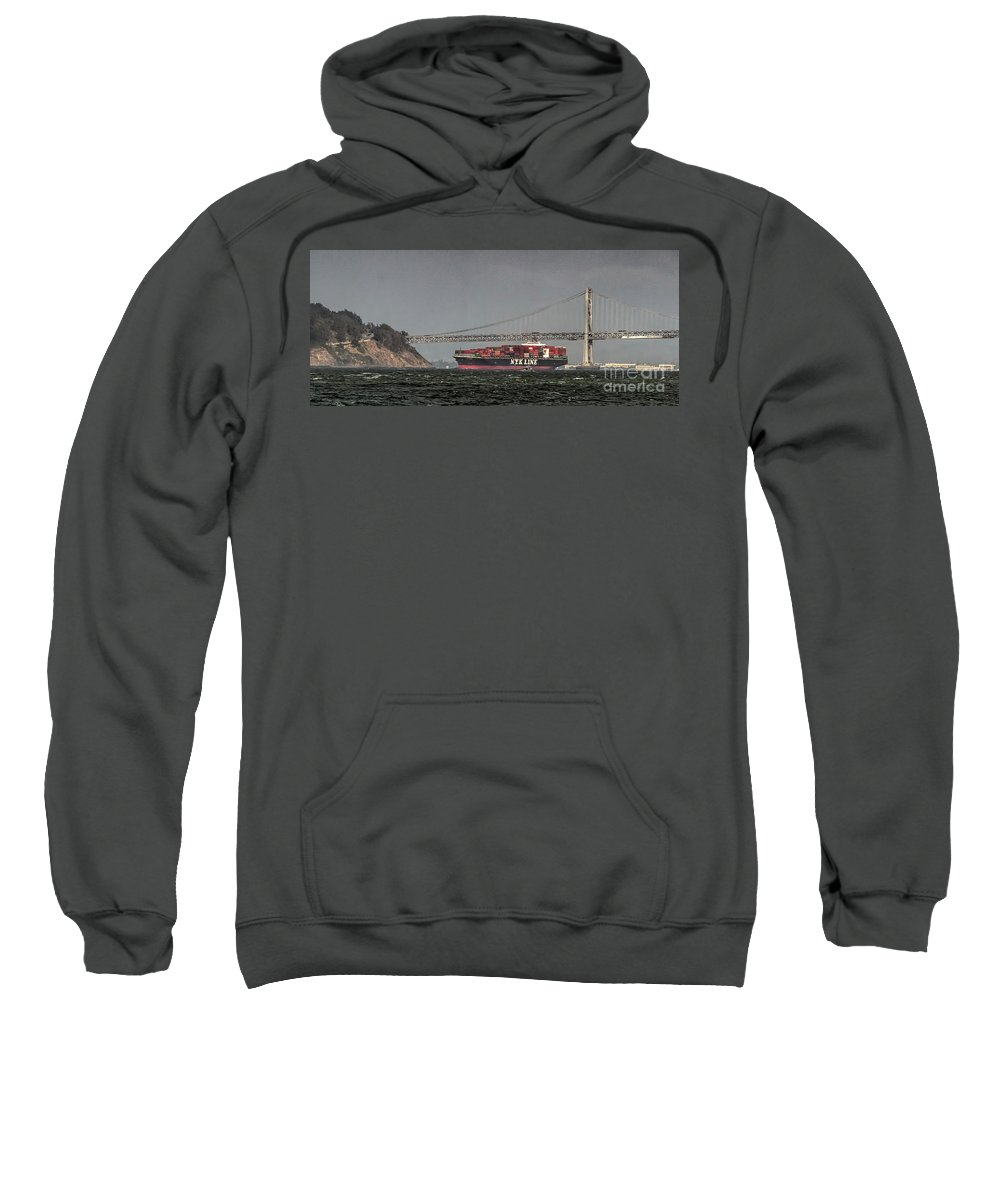 Nyl Line Sweatshirt featuring the photograph Nyl Line Container Ship By Bay Bridge In San Francisco, California by David Oppenheimer