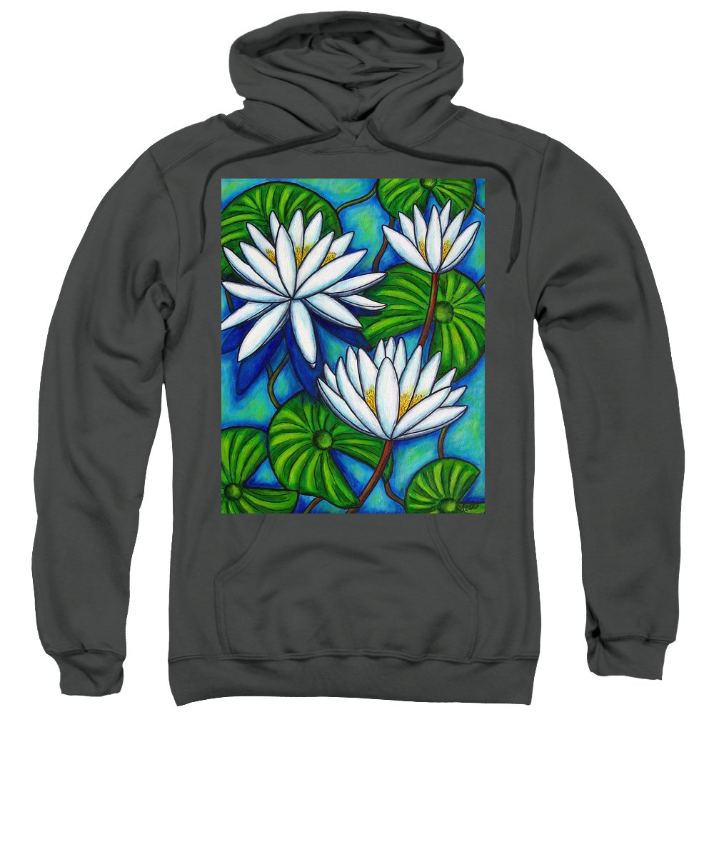 Lily Sweatshirt featuring the painting Nymphaea Blue by Lisa Lorenz