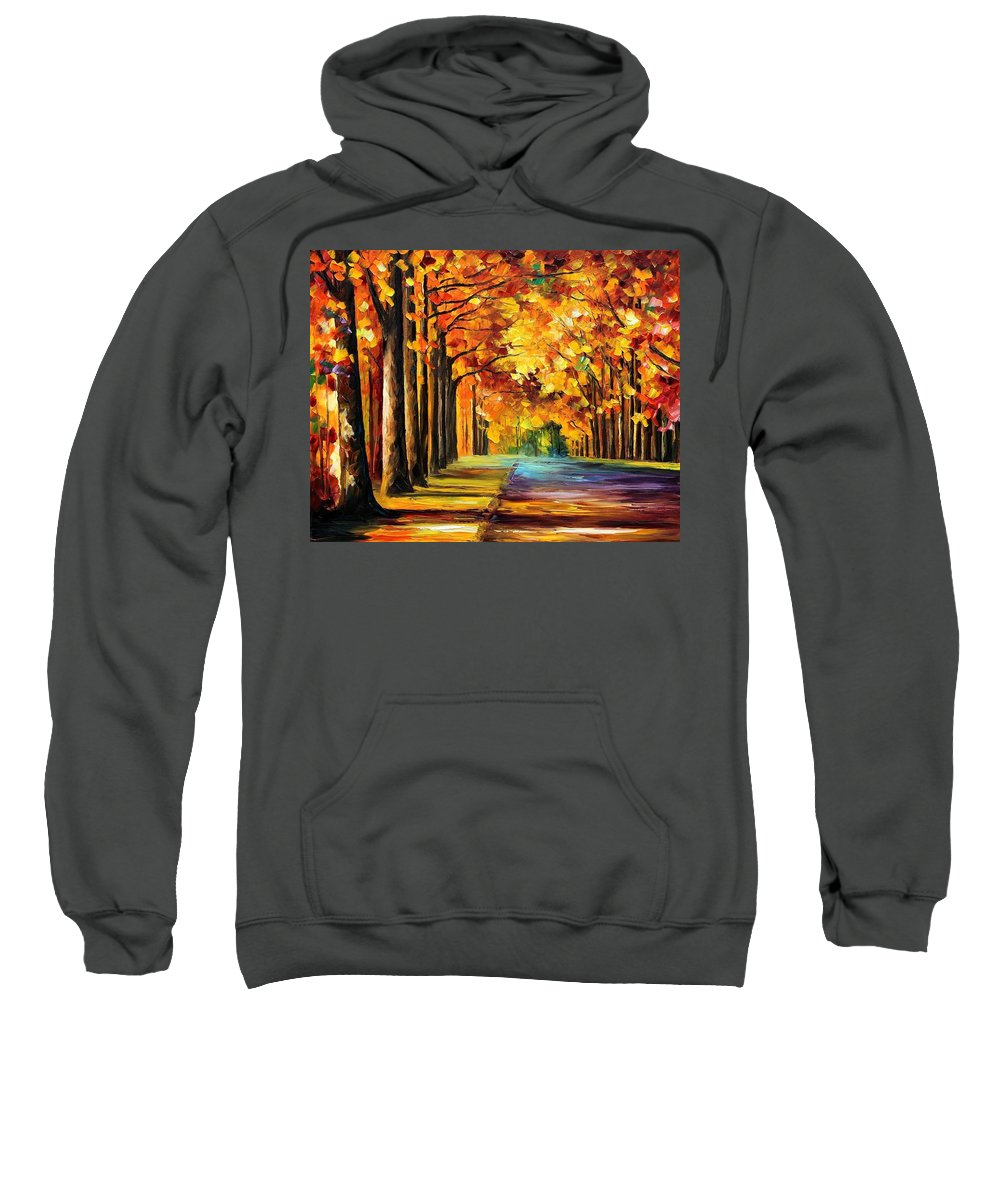 Afremov Sweatshirt featuring the painting Oak Alley by Leonid Afremov